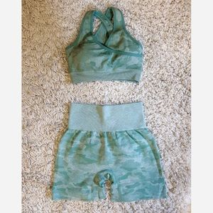 2Pc Camo Seamless Shorts Set (Shorts + Bra)